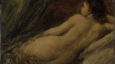 image of a plump naked woman draped in sheets
