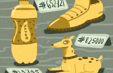 Illustration, a shoe, a dog a water bottle. All with price tags