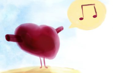 Illustrated, an image of a heart singing