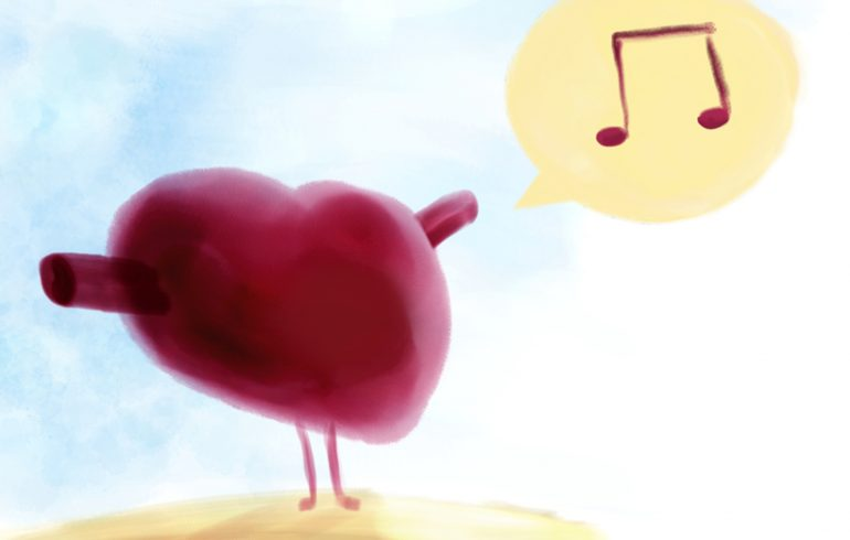 Illustrated an image of a heart singing