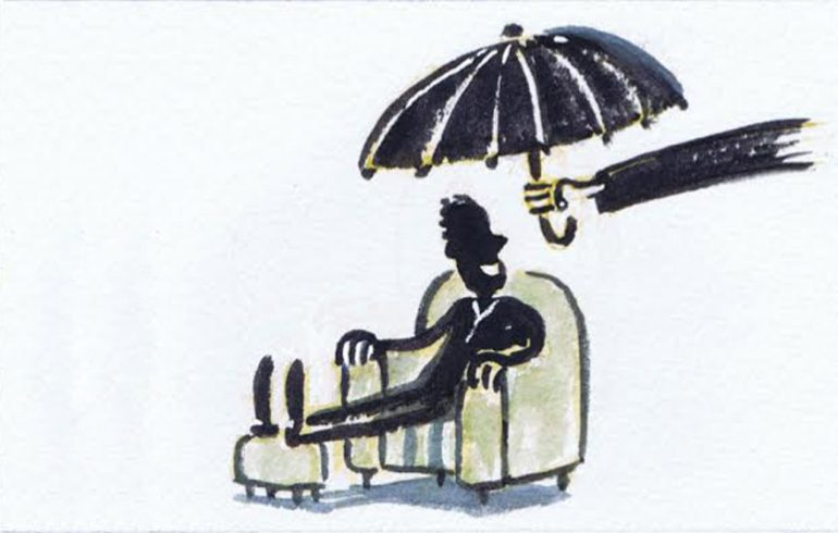 Illustration, man in a chair covered by an umbrella