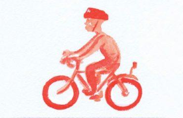 Illustration, man riding a pedal bike