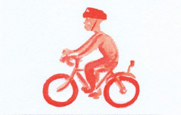 Illustration, man riding a pedal bike