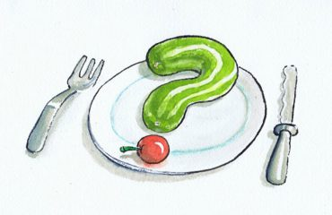 Illustration, cucumber in the shape of a question mark on a plate