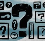 Illustration, a wide range of sizes of question marks in black on a blue background