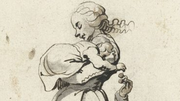 Drawing of a woman holding a baby
