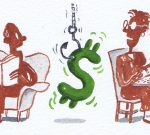 Illustration, dollar sign symbol dangling on a hook between a man and a woman